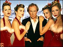 Actor Bill Nighy with a bevvy of lovelies in Love Actually