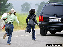 Michael Jackson's fans chase after his car