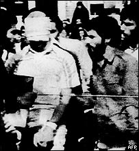 Iranian captors parade US hostage, 1979