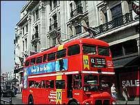 A red London bus in Regent Street
