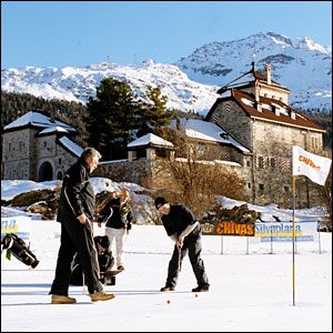 The winter playground of St Moritz is the venue for the Chivas Snow Golf Championship