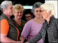Carla del Ponte hands with Munira Subasic, president of association of Srebrenica 1995 survivors.