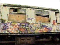 Vandalised train