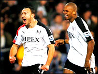 Steed Malbranque celebrates his goal with Fulham team-mate Collins John