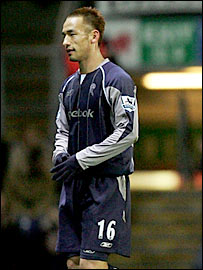 Bolton's Hidetoshi Nakata trudges off after receiving his first-half red card