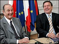 French President Jacques Chirac and former German Chancellor Gerhard Schroeder. File photo