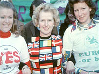 Mrs Thatcher in her Yes sweater