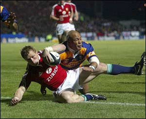 Josh Lewsey scores a try for the British and Irish Lions