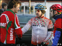 Welsh Sports Minister, Alun Pugh (left) meets members of the Rhyl Cycle Club