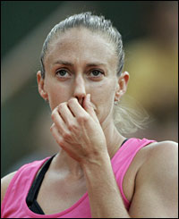 Mary Pierce ponders her next move after losing the opening set