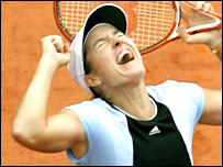 Justine Henin-Hardenne is jubilant after her Roland Garros win