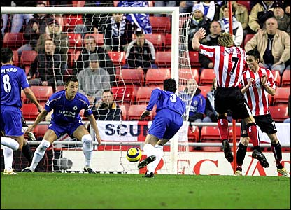 Sunderland's Liam Lawrence pounces a poor clearance by John Terry to score the opener