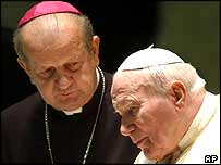 Archbishop Stanislaw Dziwisz, left, and the late Pope John Paul II