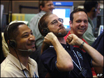 Control room celebrates landing (AP)