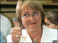 Michelle Bachelet after casting her vote