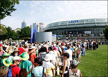 Fans arrive at the Rod Laver Arena at the Australian Open