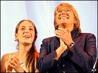 Michelle Bachelet and her daughter
