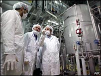 Iranian MPs at the Isfahan nuclear station in Iran