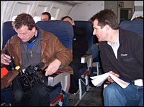 David Shukman (R) and BBC cameraman Tony Fallshaw (L)