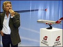 Virgin Atlantic boss Richard Branson with a model of the A380 super-jumbo