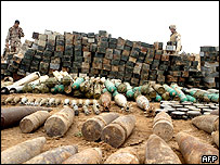 Weapons cache allegedly found by US troops in Anbar province (10/05/2005)
