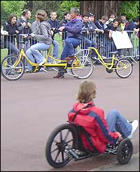 Some brave bikers try to master the tandem and trailer