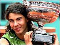 Rafael Nadal celebrates his French Open win