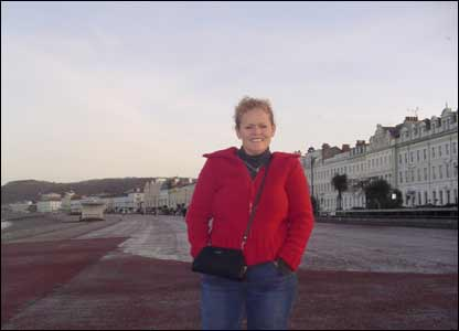 Paul Ridler's wife Wendy, who is from Tennessee, on the front at Llandudno