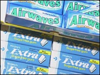 Packs of chewing gum in supermarket