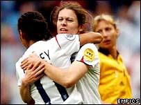 England goalscorer Karen Carney celebrates with Rachel Yankey
