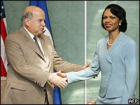 Jose Miguel Insulza and Condoleezza Rice