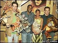 David Schwimmer, Chris Rock, Jada Pinkett Smith and Ben Stiller in Madagascar