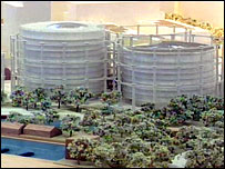 Model of gasholders at King's Cross site