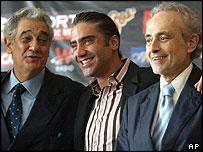 Placido Domingo, Alejandro Fernandez and Jose Carreras