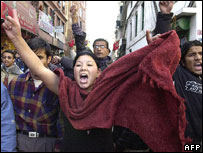 Pro-leftist students shout anti-king slogans and call for a boycott of the local elections in a rally in Kathmandu
