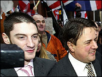 Mark Collett (L) and BNP leader Nick Griffin