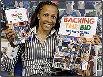 London 2012 handout photo of Dame Kelly Holmes showing her support for London 2012's Olympic Bid