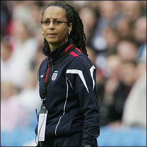 Hope Powell looks worried