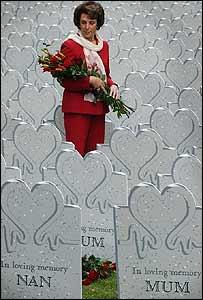 Edwina Currie in temporary graveyard in Soho