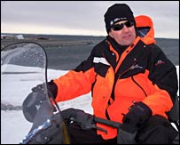 David Shukman on a snowmobile (BBC)