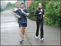 Jonathan Davies and his wife Helen in training
