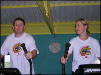 Jonathan Davies and his wife Helen train