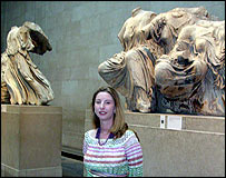 Dorothy King and statues from the Parthenon east pediment