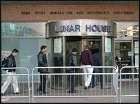 Immigration and Nationality Directorate offices at Lunar House in Croydon