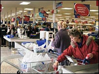 Shoppers at Tesco tills