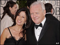 Sir Anthony Hopkins arrives with his wife Stella Arroyave