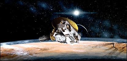 Representación artística de la nave frente a Plutón (Gentileza: NASA).