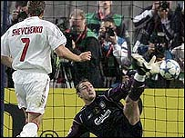 Jerzy Dudek saves from Andriy Shevchenko