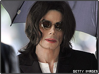 Michael Jackson arrives at court during his trial