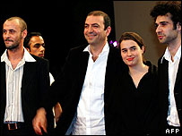 (L to R) Ali Suleiman, Hanny Abu-Assad, Lubna Azabal and Qais Nashef